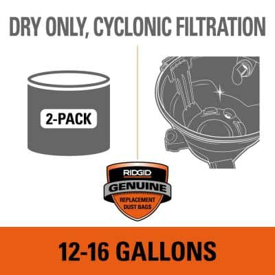 Premium Size A Cyclonic Dry Pick-Up Dust Bags for Select 12 to 16 Gal. RIDGID Wet/Dry Shop Vacuums (2-Pack)