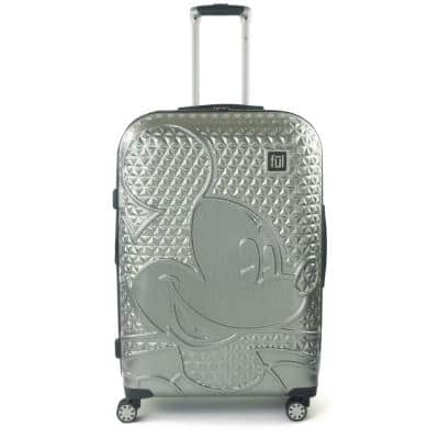 Disney Textured Mickey Mouse 29 in. Silver Hard-Sided Rolling Luggage