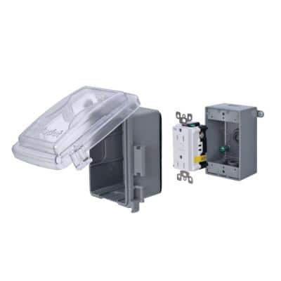 1-Gang GFCI Weatherproof Non-Metallic Electrical Box Cover Kit