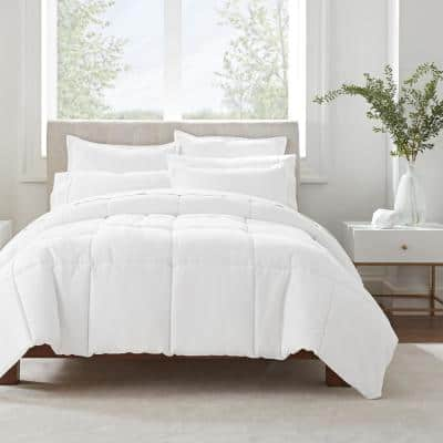 Simply Clean 2-Piece White Pleated Microfiber Twin XL Comforter Set