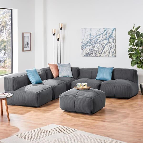 Noble House Markham 6 Piece Grey Fabric, Grey Fabric Sectional Sofa