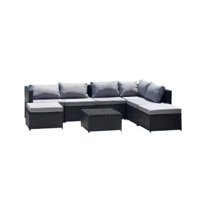 UIXE B2 Black Wicker Outdoor Sectional Set with Gray Cushions