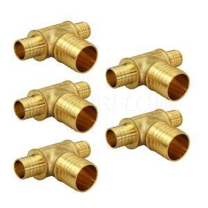 1/2 in. x 1/2 in. x 3/4 in. Brass PEX Barb Reducing Tee Pipe Fittings (5-Pack)