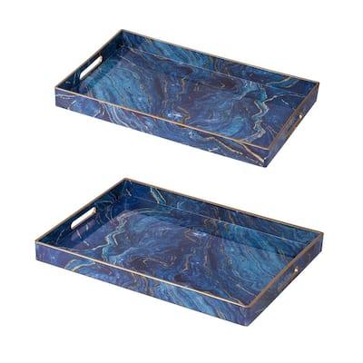Blue Modern Chic Rectangular Trays (Set of 2)