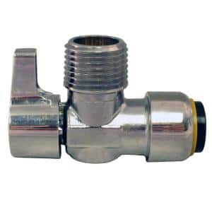 1/2 in. Chrome-Plated Brass Push-To-Connect x 1/2 in. MIP Brass Quarter-Turn Angle Stop Valve