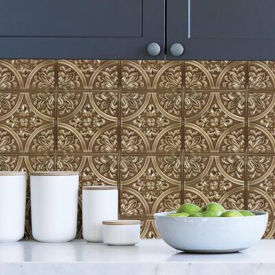 Chelsea Bronze Faux Metallic Tile Wall Decals