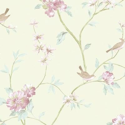Floral Bird Sidewall Vinyl Roll Wallpaper (Covers 56 sq. ft.)