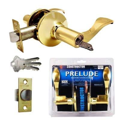 Polished Brass Prelude Keyed Entry Door Lever Lock Set