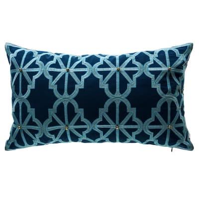 Tivoli Damask Lumbar Outdoor Throw Pillow