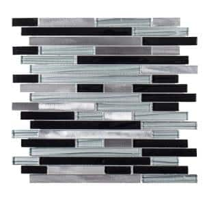 Binary Code Gray and Blue 11.625 in. x 11.625 in. Interlocking Metal Mosaic Tile (0.938 sq. ft./Each)