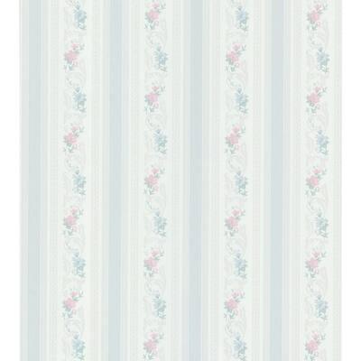Acanthus Floral Stripe Blue Wallpaper Sample