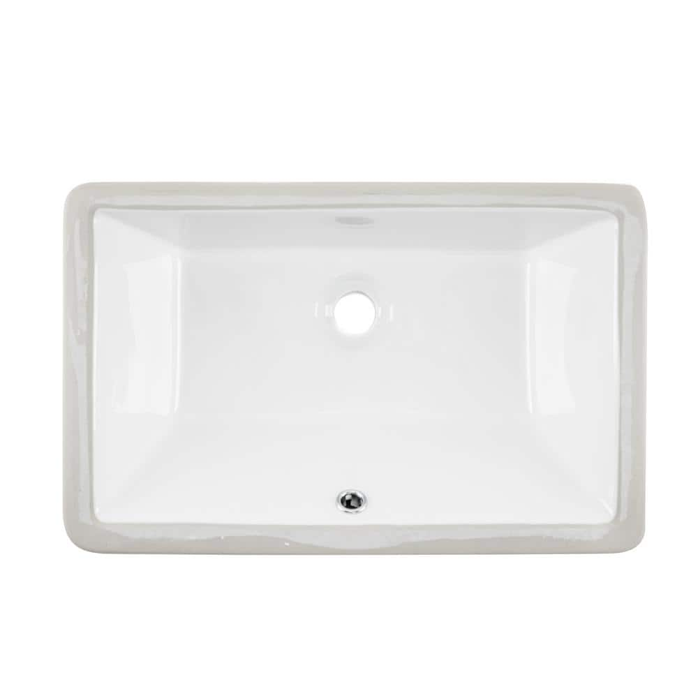Ipt Sink Company Rectangular Glazed Ceramic Undermount Bathroom Vanity Sink In White Ipt1811w The Home Depot