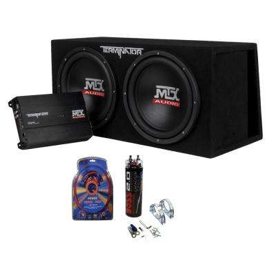 Dual 12 in. Subwoofers and Amplifier Package with Wiring Kit and 2 Farad Capacitor