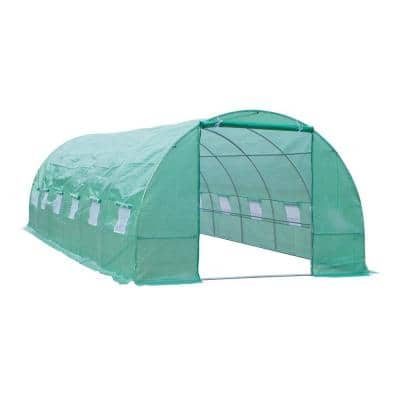 10 ft. x 26 ft. x 7 ft. Outdoor Portable Walk-In Tunnel Greenhouse with 12 Ventilating Windows and Durable PE Materials