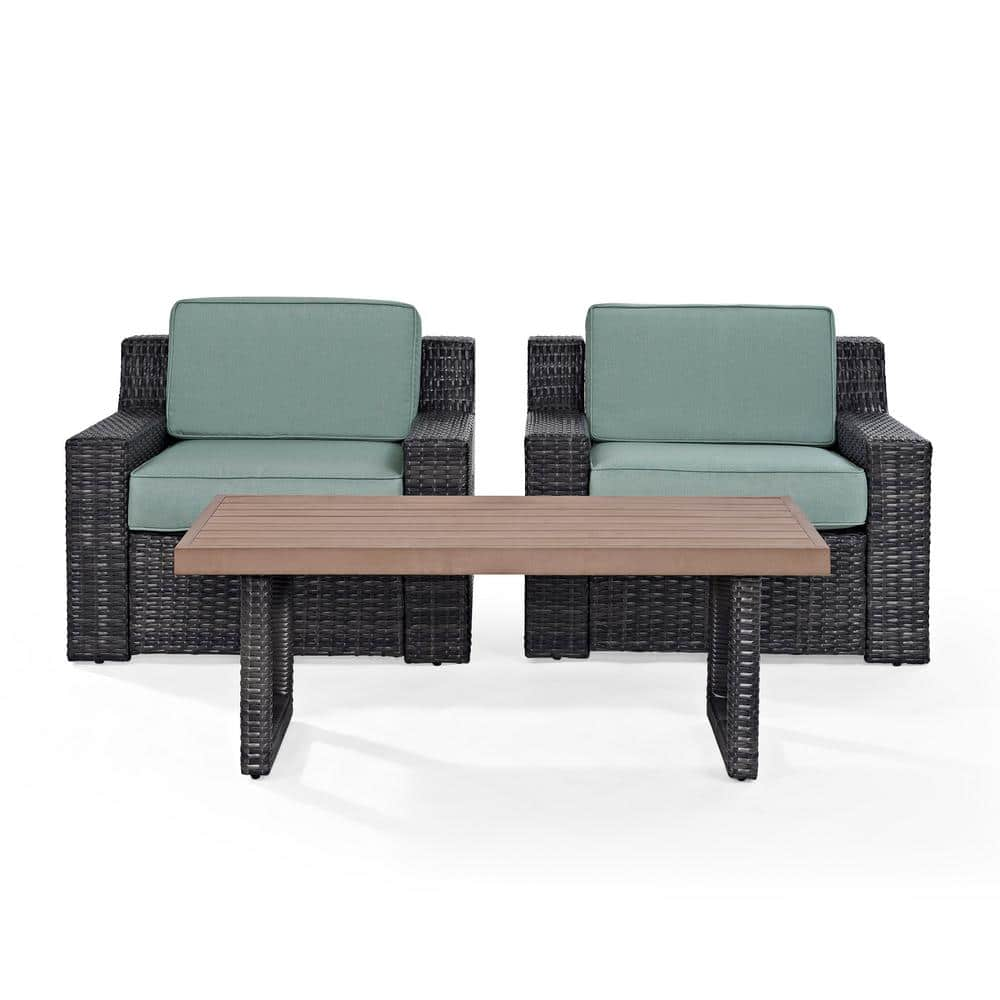 reviews for crosley beaufort 3 piece wicker patio outdoor seating set with mist cushion 2 wicker outdoor chairs coffee table ko70099br the home
