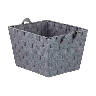 15 in. D x 5 in. H x 13 in. W Grey Fabric Cube Storage Bin