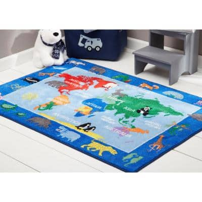 Elementary World Map Multi 6 ft. 6 in. x 9 ft. 5 in. Indoor Area Rug