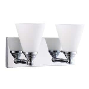 12 in. 2-light Brushed Chrome Bathroom Powder Room Vanity Light with Cone Shape Frosted Glass Shades