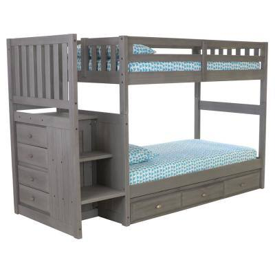 Charcoal Gray Series Charcoal Gray Twin Size over Twin Size Staircase Bunkbed with 7-Drawers