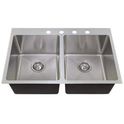 Drop-in Stainless Steel 31 in. 4-Hole 50/50 Double Bowl Kitchen Sink