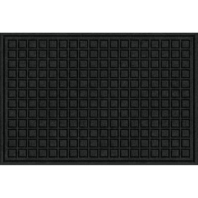 Black 24 in. x 36 in. Fiber and Rubber Commercial Door Mat