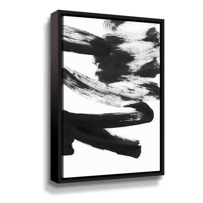 'Black & white strokes 5' by Iris Lehnhardt Framed Canvas Wall Art