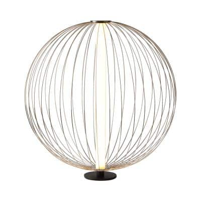 Spokes 21 in. Black Round Small Table Lamp
