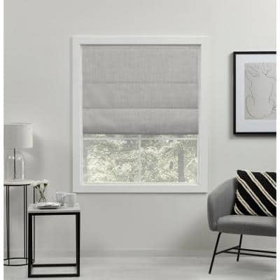Acadia Silver Cordless Total Blackout Roman Shade 31 in. W x 64 in. L