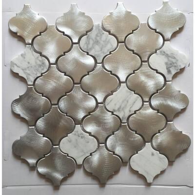 CHENX 11.81 in. x 13.39 in. Multi-Surface Backsplash in Silver/White(13.2 sq. ft. / case)
