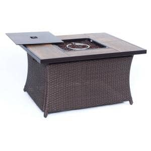 9.8 in. Wicker Fire Pit Table in Brown with Woodgrain Tile-Top