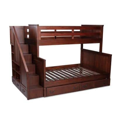 Aspen Rustic Cherry Bunk Bed with Drawer Under Bed