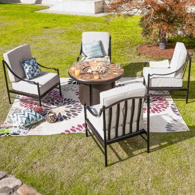 5-Piece Metal Deep Seating Set with Beige Cushions