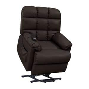 Coffee Brown Renu Leather Composite Fabric Power Lift Assist Recliner