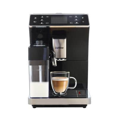 5-Cup Stainless Steel Fully-Automatic Espresso Machine with Built-In Grinder Milk Tank Black