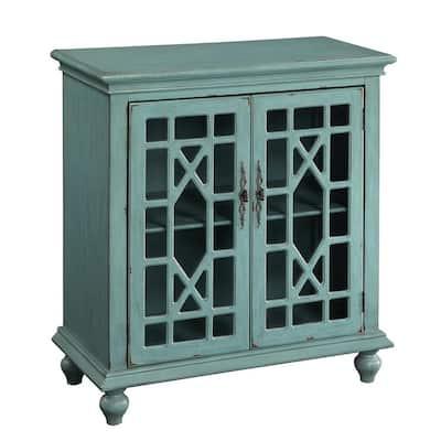 Bayberry Blue Rub-through 2-Door Cabinet