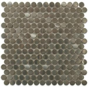 Silver Penny Round 12 in. x 12 in. x 8 mm Stainless Steel Metal Floor and Wall Tile