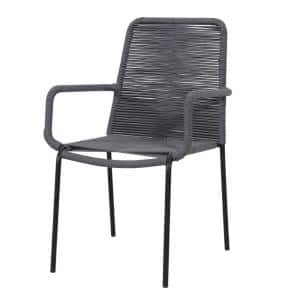 Palaio 2-Piece Stackable Gray Wicker Outdoor Dining Chair