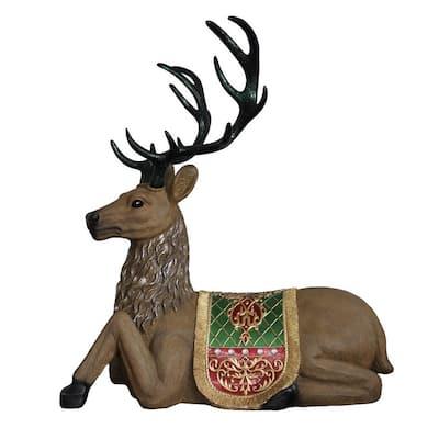 47 in. Christmas Commercial Grade Sitting Reindeer Fiberglass Decoration