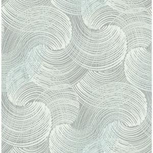 Karson Teal Swirling Geometric Teal Paper Strippable Roll (Covers 56.4 sq. ft.)