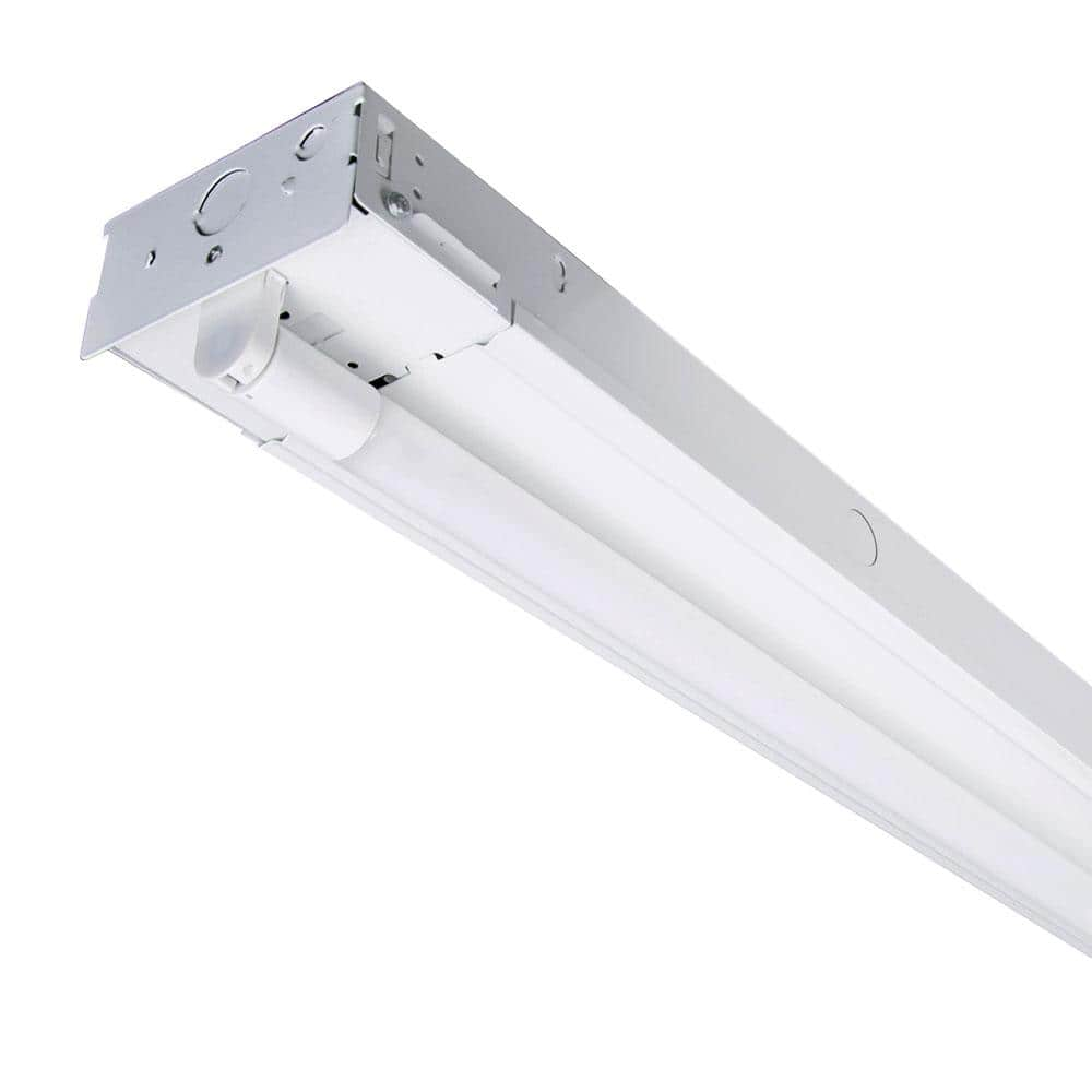 Envirolite 8 Ft 52 Watt 2 Light White Strip Light Fixture T8 Industrial Led With 3500 Lumens Dlc Flex Tubes 120 277 Volt 4000k St703t3540 The Home Depot
