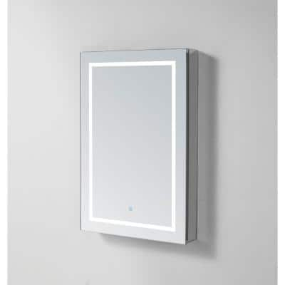 Royale PlusV2 24 in. W x 30 in. H Recessed/Surface Mount Medicine Cabinet with Mirror, Single Door, LED, Left Hinge