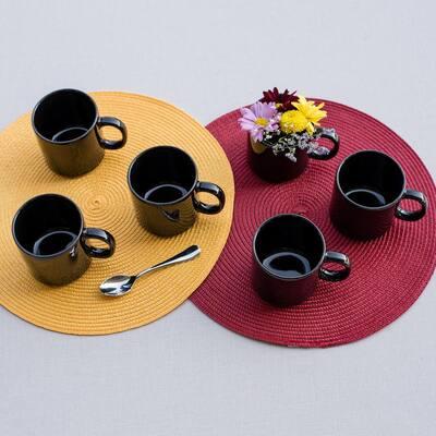 Actual 12.17 oz. Black Earthenware Mugs (Set of 12)