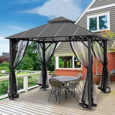 10 ft. x 10 ft. Insulated Aluminum Outdoor Patio Gazebo with Double Roof and Netting