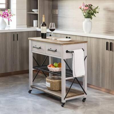 Aged White Aurora Farmhouse Kitchen Cart