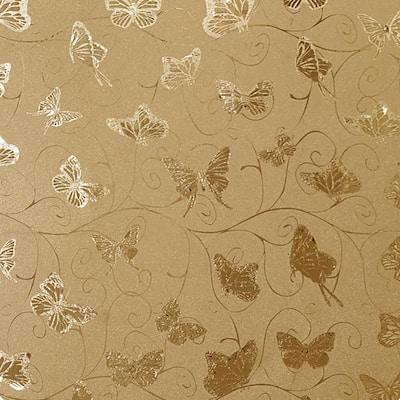 Butterflies, Vines Gold, Mustard Vinyl Strippable Roll (Covers 26.6 sq. ft.)