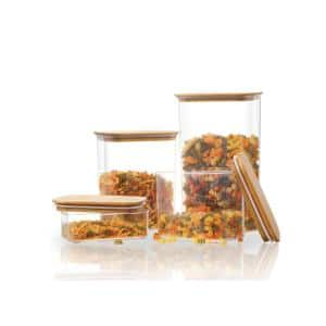 Rectangle Canister with Bamboo Lid (Set of 4)