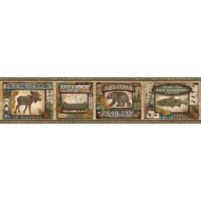 Tugalo Green Bear Paw Lodge Green Wallpaper Border