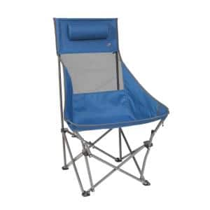 Blue High-Back Compact Metal Camping Chair