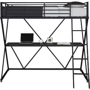 Cora Black Twin Loft Bed with Desk