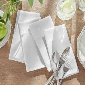 17 in. W x 17 in. L Elegance Plaid Damask White Fabric Napkins (Set of 4)